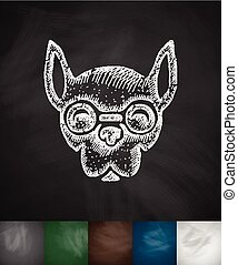 hipster dog icon. Hand drawn vector illustration. Chalkboard...