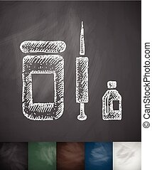 medicaments icon. Hand drawn vector illustration. Chalkboard...