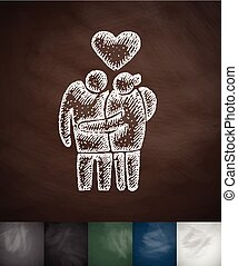 family pensioners icon. Hand drawn vector illustration....