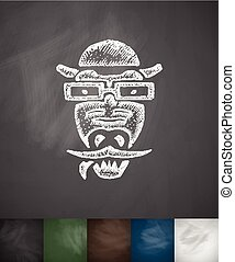 hipster crocodile icon. Hand drawn illustration - hipster...