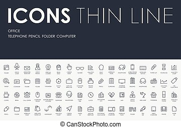 office Thin Line Icons - Thin Stroke Line Icons of office on...