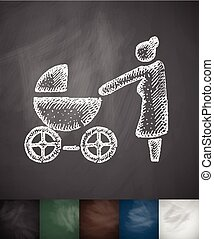 grandmother with stroller icon. Hand drawn vector...