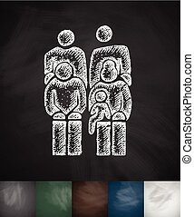 family icon. Hand drawn vector illustration. Chalkboard...