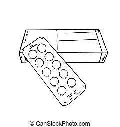 Vector sketch box and plate of pills. Vector illustration.