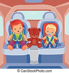 Two little boys sitting in child car seats - Vector...