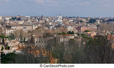 Panorama of Rome. View from Gianikolo. Rome, Italy. UltraHD...