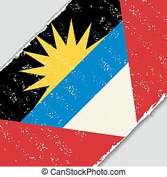 Antigua and Barbuda grunge flag. Vector illustration. -...