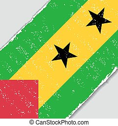 Sao Tome and Principe grunge flag. Vector illustration. -...
