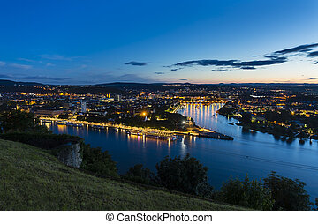 Koblenz Oldtown and Deutsches Eck At Night - View of...