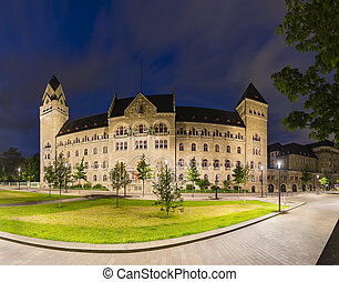 Former Prussian Government Building in Koblenz, Germany At Night