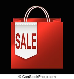 Shopping paper bag with sale tag