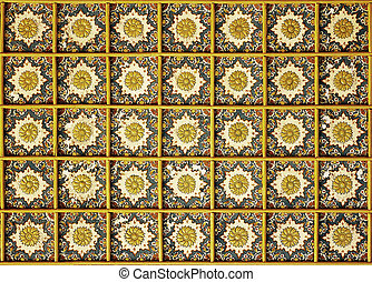 Topkapi Palace, Istanbul, Turkey - Decorated ceiling in one...