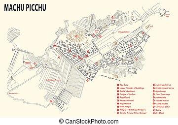 Machu Picchu map, Peru