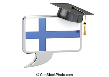 Speech bubble with Finnish flag, learning concept. 3D...