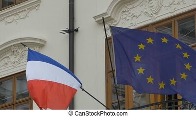 Flag of France and European Union - Flags of France and...