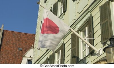 Japan Flag on Building - The Japan flag mounted skew waving...
