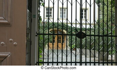 Old Latticed Gate - Zooming through a barred gate at the...