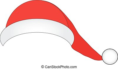Hat of Santa Claus on a white background - Santa Claus hat...
