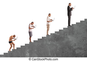 Successful man career evolution - Evolution from hunched man...