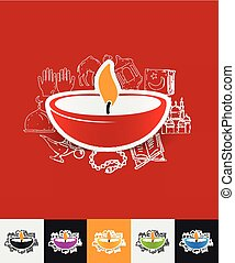 lamp paper sticker with hand drawn elements - hand drawn...