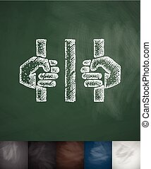 behind bars icon. Hand drawn vector illustration. Chalkboard...