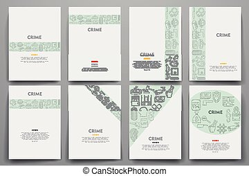 Corporate identity vector templates set with doodles crime...