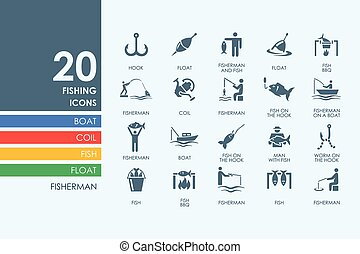Set of fishing icons - fishing vector set of modern simple...