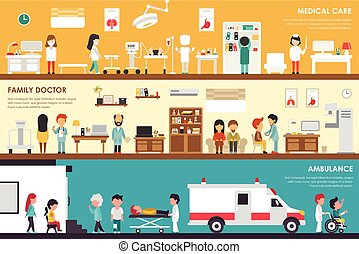 Medical Care Family Doctor Ambulance flat hospital interior...
