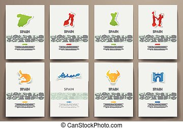 Corporate identity vector templates set with doodles Spain...