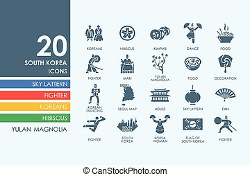 Set of South Korea icons - South Korea vector set of modern...