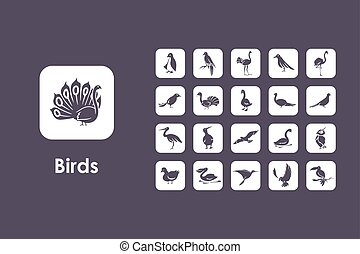 Set of birds simple icons - It is a set of birds simple web...