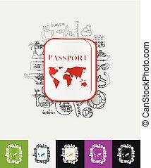 passport paper sticker with hand drawn elements - hand drawn...