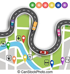 Road infographics. Winding road with 3d signs. The path...