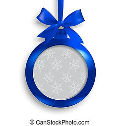 Card. Blue medallion with ribbon and place for an inscription on a white background with shadow. Hanging on a ribbon. Christmas tree toy. illustration