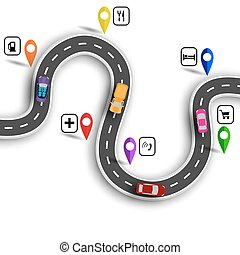 Infographic. Winding road with signs. 3D. Cars. The path...