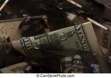 dollars in a scrapyard - burned dollars in a scrapyard