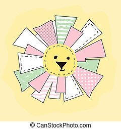 Yellow Funny Sun in Patchwork Style Isolated