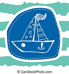 Cute boat on a striped blue background