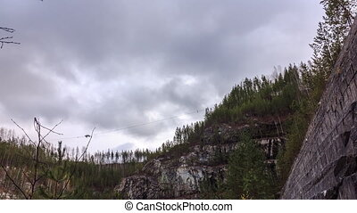 The sky in the clouds, the kind of quarry. Russia. HDR, Time...