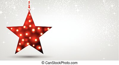 Christmas background with red star. - Festive Christmas...