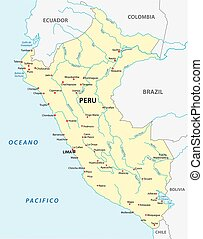 peru map - peru road map