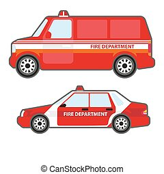 Set of red fire department car to help. Fire truck bus and...