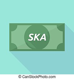Long shadow bank note with the text SKA - Illustration of a...
