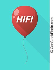 Long shadow balloon with the text HIFI - Illustration of a...