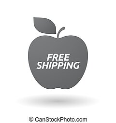 Isolated apple fruit with    the text FREE SHIPPING