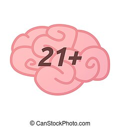 Isolated brain icon with the text 21+ - Illustration of an...