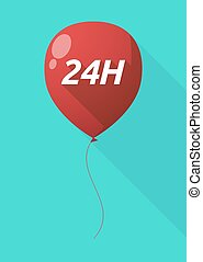 Long shadow balloon with the text 24H - Illustration of a...