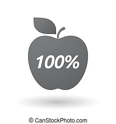 Isolated apple fruit with the text 100% - Illustration of an...