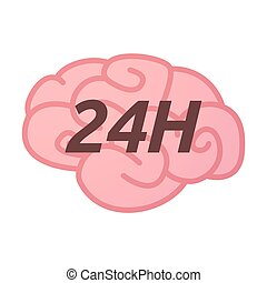 Isolated brain icon with the text 24H - Illustration of an...