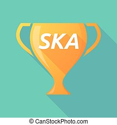 Long shadow award cup with the text SKA - Illustration of a...